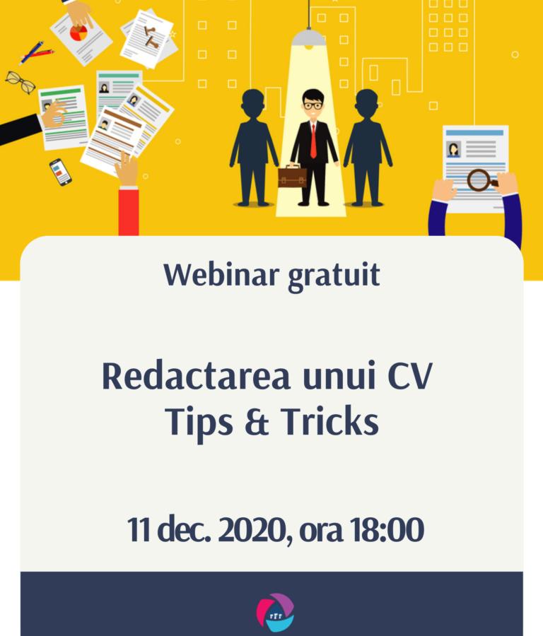 Webinar – Redactarea CV-ului (dec. 2021)
